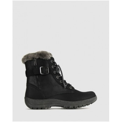 Betts Womens Army Faux Fur Ankle Boots Black NSNXXYX