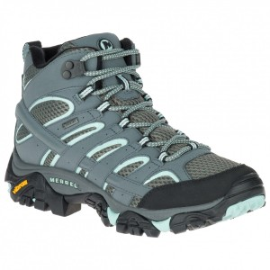 Merrell Women's Moab 2 Mid GTX - Walking boots Beluga \/ Olive Womne's - Outdoor shoes Recommendations ZBYYURC