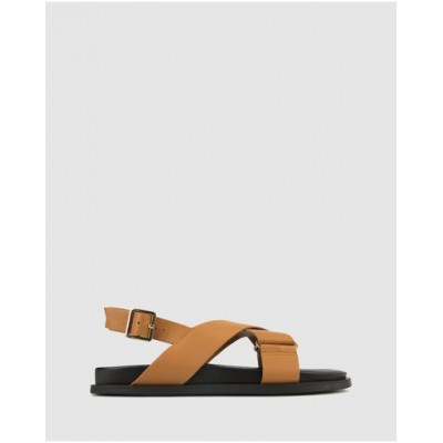 Betts Women Andros Cross Strap Leather Sandals Tan FZYWTFP
