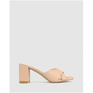 Betts Womens Lillydale Block Heel Mules Nude QRBOKYN