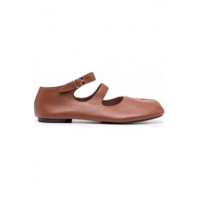 Womens Maison Margiela Tabi ankle-strap ballerina shoes Brown Leather New Style WIPV7538