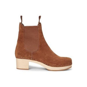 Young Women's Loeffler Randall Annabelle Leather Clog Boots Brown Leather QSKF4809