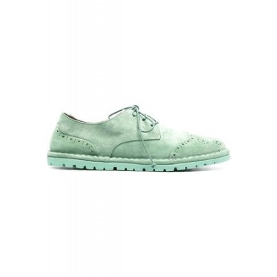 Women MARSÈLL Suede-effect lace-up brogues Green Leather on style MMWQ2193