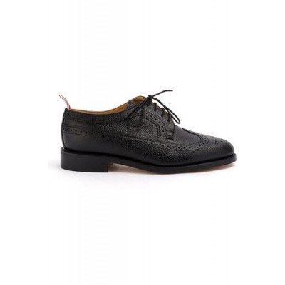 Women Thom Browne Classic Longwing Brogue Flat In Pebble Grain Black Leather size 6 IKKH900