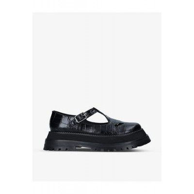 Women's Burberry Aldwych croc-embossed leather shoes Black Leather size 5.5 QDVB6980