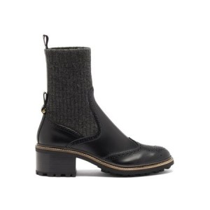 Women's Chloé Franne Sock And Leather Brogue Boots - Womens Black Leather size 8 For Sale BQSX9701