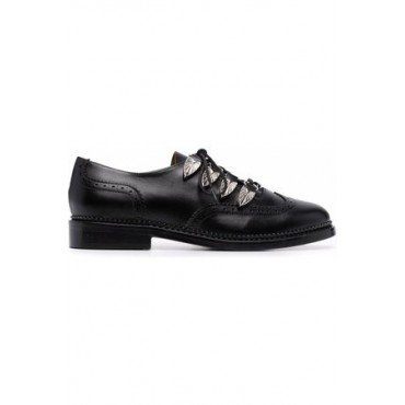 Women's TOGA PULLA Eyelet-detail lace-up almond-toe shoes Black Leather size 3 KPLH5114
