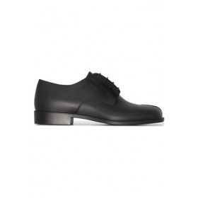 Young Women's Maison Margiela Tabi leather Oxford shoes Black Rubber spring 2021 BWEU3274