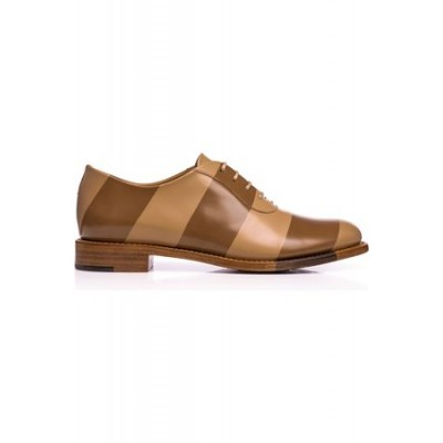 Women THE OFFICE OF ANGELA SCOTT Women's Mr. Smith Stripe Oxford Brown The Top Selling DKWX7640