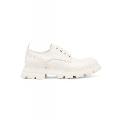 Women's Alexander McQueen Wander Exaggerated-sole Leather Shoes - Womens White Leather Wide fit Casual AUDA170