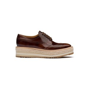 Womens Prada Lace-up Derby shoes Brown Leather Wide Ships Free KGXZ5381