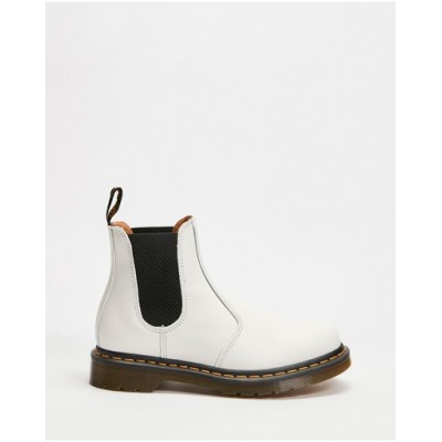 Dr Martens Womens 2976 Yellow Stitch Chelsea Boots - Unisex White Smooth YTOBPBZ