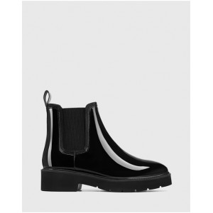 Wittner Womens Comika Patent Leather Rubber Sole Ankle Boots Black Top Sale GYORGUU