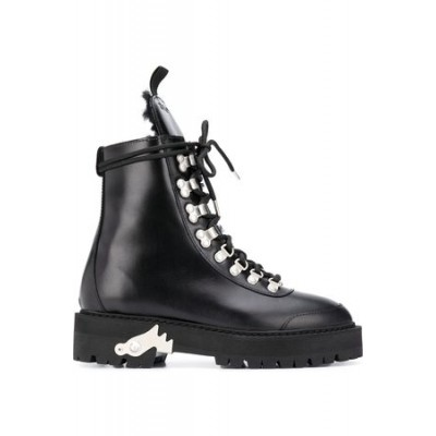Women OFF-WHITE Ankle-high hiking boots Black Leather Designer Sale MGOZ7431