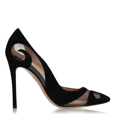 Women GIANVITO ROSSI Transparent Suede Pumps Black Workout online shopping YR74P1403