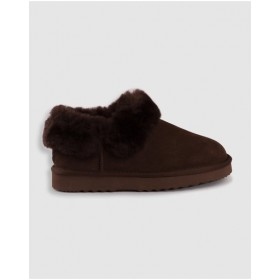 AusWooli Ugg Boots Women's Coogee Sheepskin Wool Ankle Slippers Chocolate UAXKPOU