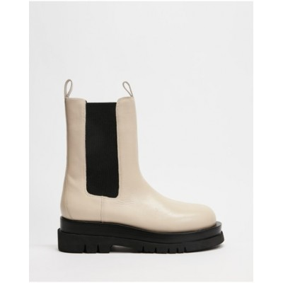 AERE Women Chunky Leather Chelsea Boots Cream for sale near me WIXNLDS