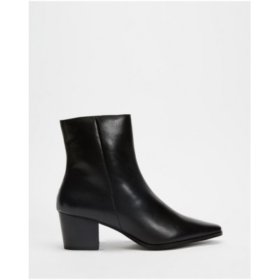 Atmos&Here Women Jackson Leather Ankle Boots Black Leather VBLBYNS