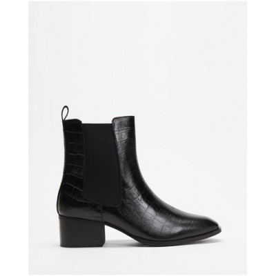 Atmos&Here Womens Felicity Leather Ankle Boots Black Croc Embossed Leather Deals WWAUGDR