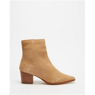 Atmos&Here Women's Jackson Leather Ankle Boots Camel Suede In Store LEMEMHE