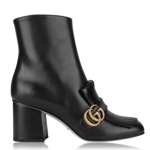Women's GUCCI Marmont Leather Ankle Boots Black 1000 on sale online CQKG27152
