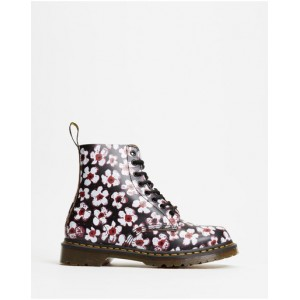 Dr Martens Women's 1460 Pascal 8-Eye Boots - Women's Black & Red Pansy Fayre Vintage Smooth Design IRUGCXC