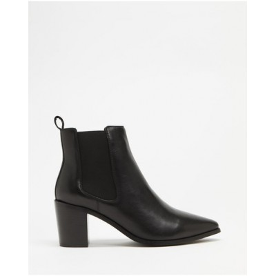 Atmos&Here Women Sorla Leather Ankle Boots Black Leather On Sale OJEEBXV
