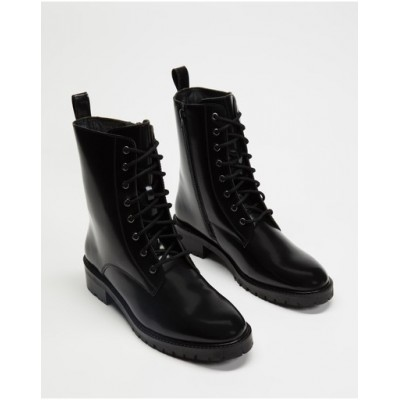 Atmos&Here Women's Janie Leather Ankle Boots Black Box Leather Latest Fashion LVKJTLG