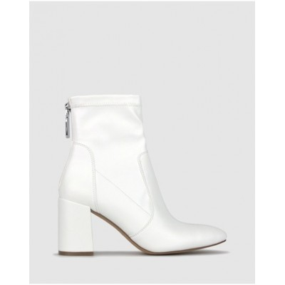Betts Women Gang Block Heel Ankle Boots White Ships Free TMFHCOO